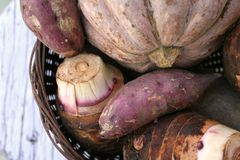 Farm Produce. Basket of potatoes, yams, and pumpkin royalty free stock photo