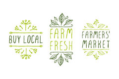 Farm product labels. Hand-sketched typographic elements. Farm product labels. Suitable for ads, signboards, packaging and identity and web designs. Buy local Stock Photo