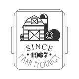 Farm product since 1967 logo. Black and white retro vector Illustration Royalty Free Stock Photography