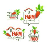 Farm Product simple logo template emblems and symbols, lettering Stock Photos