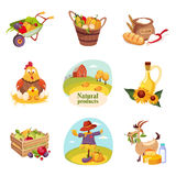 Farm Products And Animals Set Of Bright Stickers Stock Images