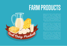 Farm products banner with dairy composition Stock Photos