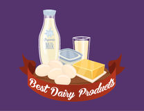 Farm products banner with dairy composition Royalty Free Stock Photography
