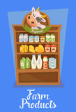 Farm products banner with supermarket shelves Royalty Free Stock Photography