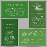 Farm products doodles on banners Royalty Free Stock Photos