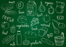 Farm products doodles - school board Stock Photo