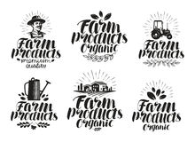 Farm products, label set. Farming, agriculture icon or symbol. Handwritten lettering vector illustration Royalty Free Stock Images