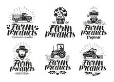 Farm products, label set. Farming, agriculture logo or icon. Lettering vector illustration. Isolated on white background Stock Photos