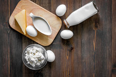 Farm products. Milk, cottage, eggs, cheese on dark wooden background top view copyspace Stock Images