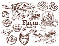 Farm Products Sketch Set Stock Photography