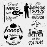 Farm Quotes Monochrome Set. With typographic sayings animals and vegetables on white textured background  vector illustration Stock Photos