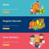 Farm and Ranch Banner Design. Set of great banner flat design illustration concepts for Farm, Ranch, harvest, agriculture and much more Royalty Free Stock Images