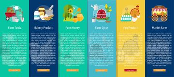 Farm and Ranch Design Vertical Banner Concept. Set of great vertical banner flat design illustration concepts for Farm, Ranch, harvest, agriculture and much more Stock Photography