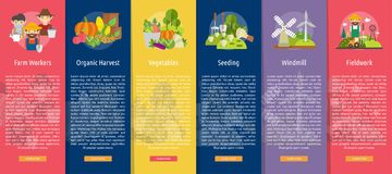 Farm and Ranch Design Vertical Banner Concept. Set of great vertical banner flat design illustration concepts for Farm, Ranch, harvest, agriculture and much more Royalty Free Stock Images