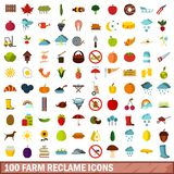 100 farm reclame icons set, flat style. 100 farm reclame icons set in flat style for any design vector illustration royalty free illustration