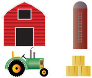Farm with Red Barn Tractor and Animals Royalty Free Stock Photography