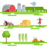 Farm Related Elements In Geometric Style Set Of Illustrations Royalty Free Stock Photos