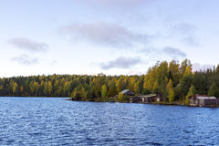 Farm on riverside in autumn taiga Royalty Free Stock Images