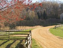 Farm Road. This is a shot of a clay road on a historic farm in New Jersey stock photography