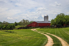 Farm road leading to the barn. Country road leading to the red barn in Middleburg Virginia Royalty Free Stock Image