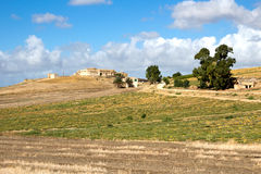 Farm in rural area and ripe melons field - Trapani province Royalty Free Stock Image