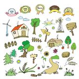 Farm and rural elements collection,carton or doodle style. Vector illustration Stock Image