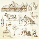 Farm, rural houses Stock Photos