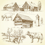 Farm, rural landscape, agriculture royalty free illustration