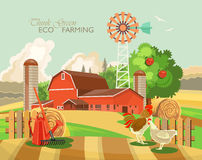 Farm rural landscape. Agriculture vector illustration.  Colorful countryside. Poster with retro village and farm. Farm rural landscape. Agriculture vector Royalty Free Stock Photography