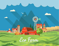 Farm rural landscape. Agriculture vector illustration. Colorful countryside. Poster with vintage farm. Farm rural landscape. Agriculture vector illustration Royalty Free Stock Image