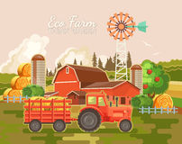 Farm rural landscape. Agriculture vector illustration. Colorful countryside. Poster with vintage village and farm Royalty Free Stock Photography
