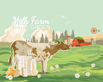 Farm rural landscape with cow and milk. Agriculture vector illustration. Colorful countryside. Poster with vintage farm. Farm rural landscape with milk, cheese Royalty Free Stock Image