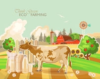 Farm rural landscape with cow. Think green. Agriculture vector illustration. Colorful countryside. Poster with vintage farm. Farm rural landscape with cute cow Royalty Free Stock Photos