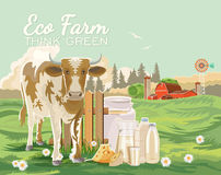 Farm rural landscape with cute cow and milk. Agriculture vector illustration. Colorful countryside. Poster with vintage farm. Farm rural landscape with cow and Royalty Free Stock Photo