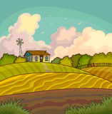 Farm rural landscape with field. Royalty Free Stock Images