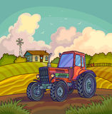 Farm rural landscape with field and tractor. Royalty Free Stock Image