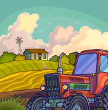 Farm rural landscape with field and tractor. Stock Image