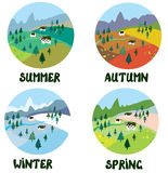 Farm rural landscape in four seasons Stock Images