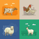 Farm rural landscape with goat, sheep, cow, hen and cock. Agriculture vector illustration. Colorful countryside. Poster with retro village. Think green. Linean Stock Photo