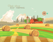 Farm rural landscape with haystacks. Agriculture vector illustration. Colorful countryside. Poster with vintage farm. Farm rural landscape with yellow haystacks Royalty Free Stock Images