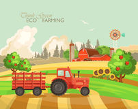 Farm rural landscape with haystacks. Think green. Agriculture vector illustration. Colorful countryside. Poster with vintage farm. Farm rural landscape with Stock Photography