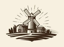 Farm, rural landscape logo or label. Agriculture, agribusiness, village, mill icon. Vintage vector illustration Royalty Free Stock Photography