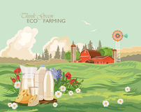 Farm rural landscape with milk. Think green. Agriculture vector illustration. Colorful countryside. Poster with vintage farm Stock Photos