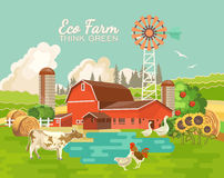 Farm rural landscape with pond. Agriculture vector illustration. Colorful countryside. Poster with retro village and farm. Fl Stock Image