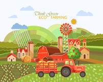 Farm rural landscape with tractor. Agriculture vector illustration. Colorful countryside. Poster with vintage farm. Farm rural landscape with red tractor Royalty Free Stock Photos