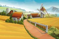 Farm rural landscape stock illustration