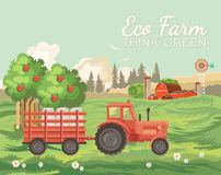 Farm rural landscape with vintage tractor. Agriculture vector illustration. Colorful countryside. Poster with vintage farm. Farm rural landscape with red retro Royalty Free Stock Photos