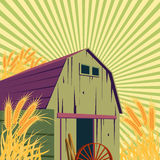 Farm rural scene. With barns and golden wheat field. Organic food concept for any design Stock Images