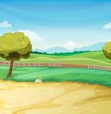 Farm scene. Empty farm scene landscape illustration Stock Image