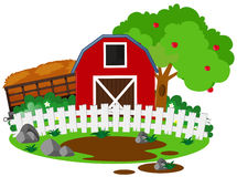 Farm scene with barn and apple tree Royalty Free Stock Photography